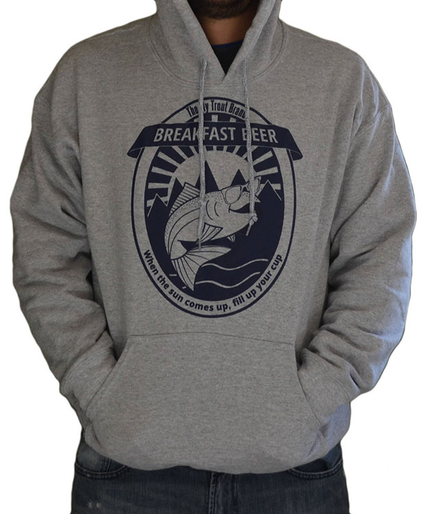 Breakfast beer hoodie the fly trout fly fishing apparel for Fly fishing hoodie