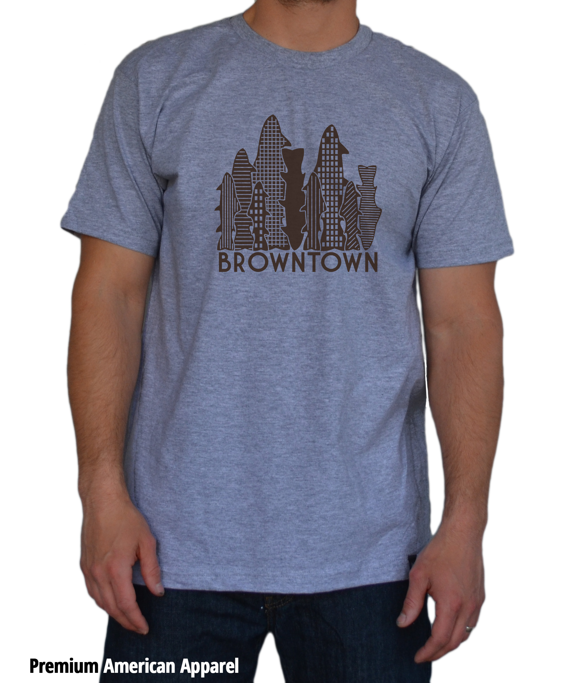 Browntown t shirt the fly trout fly fishing t shirts for Fly fishing shirt