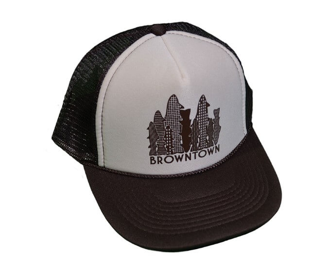 Browntown foam trucker hat the fly trout fly fishing for Fishing apparel hats