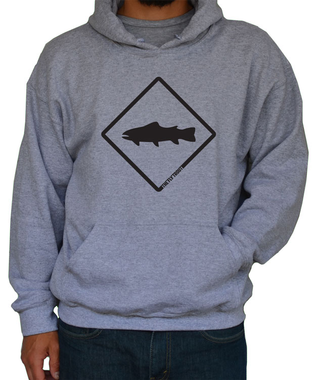Trout crossing hoodie the fly trout fly fishing apparel for Fly fishing hoodie