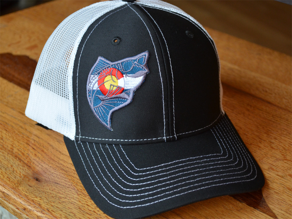 Colorado trucker hat the fly trout fly fishing t shirts for Fishing trucker hats