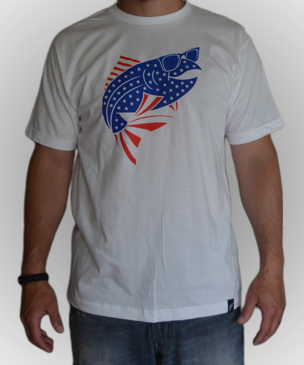 American trout t shirt the fly trout fly fishing apparel for Fly fishing shirt