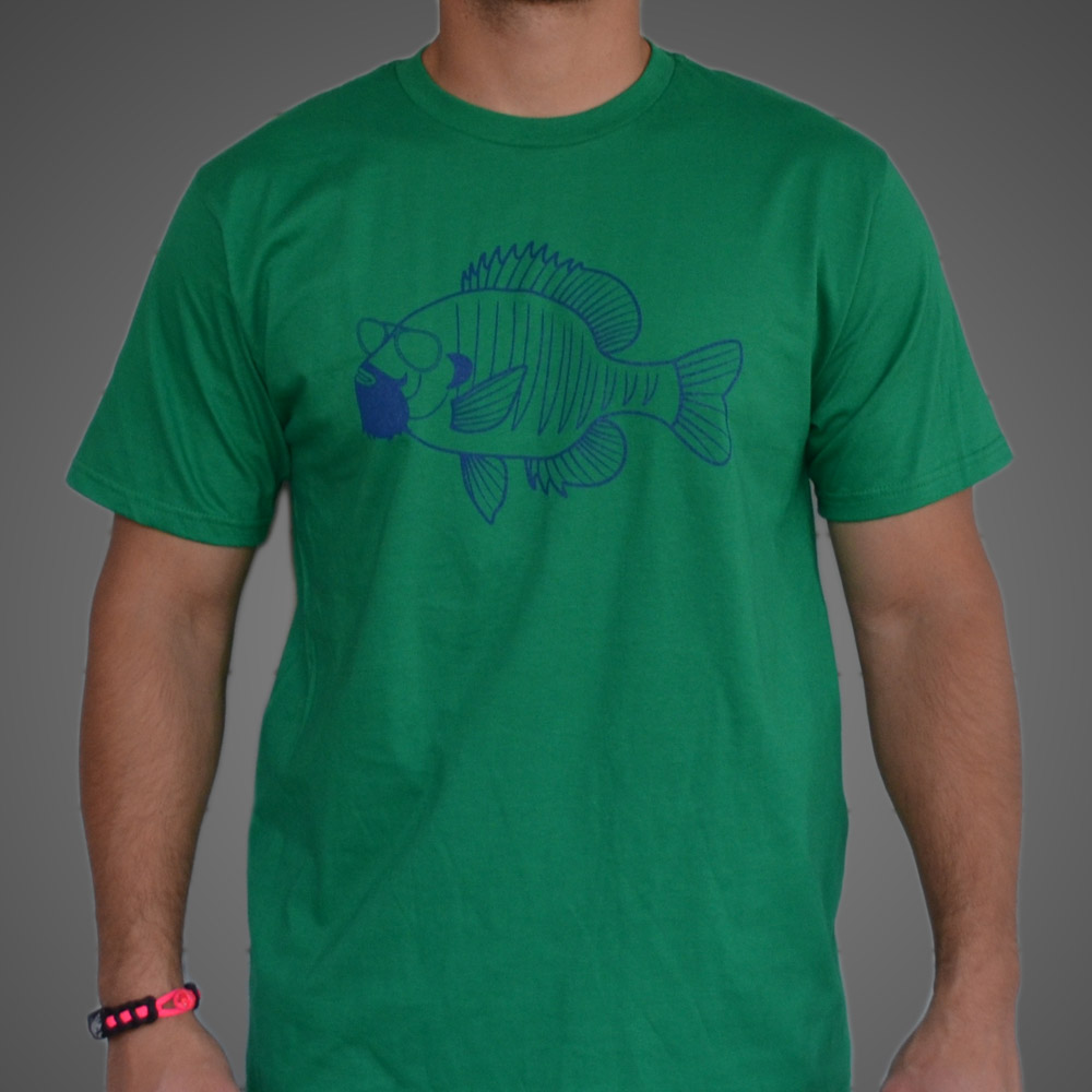 Bearded bluegill t shirt the fly trout fly fishing apparel for Fly fishing clothing