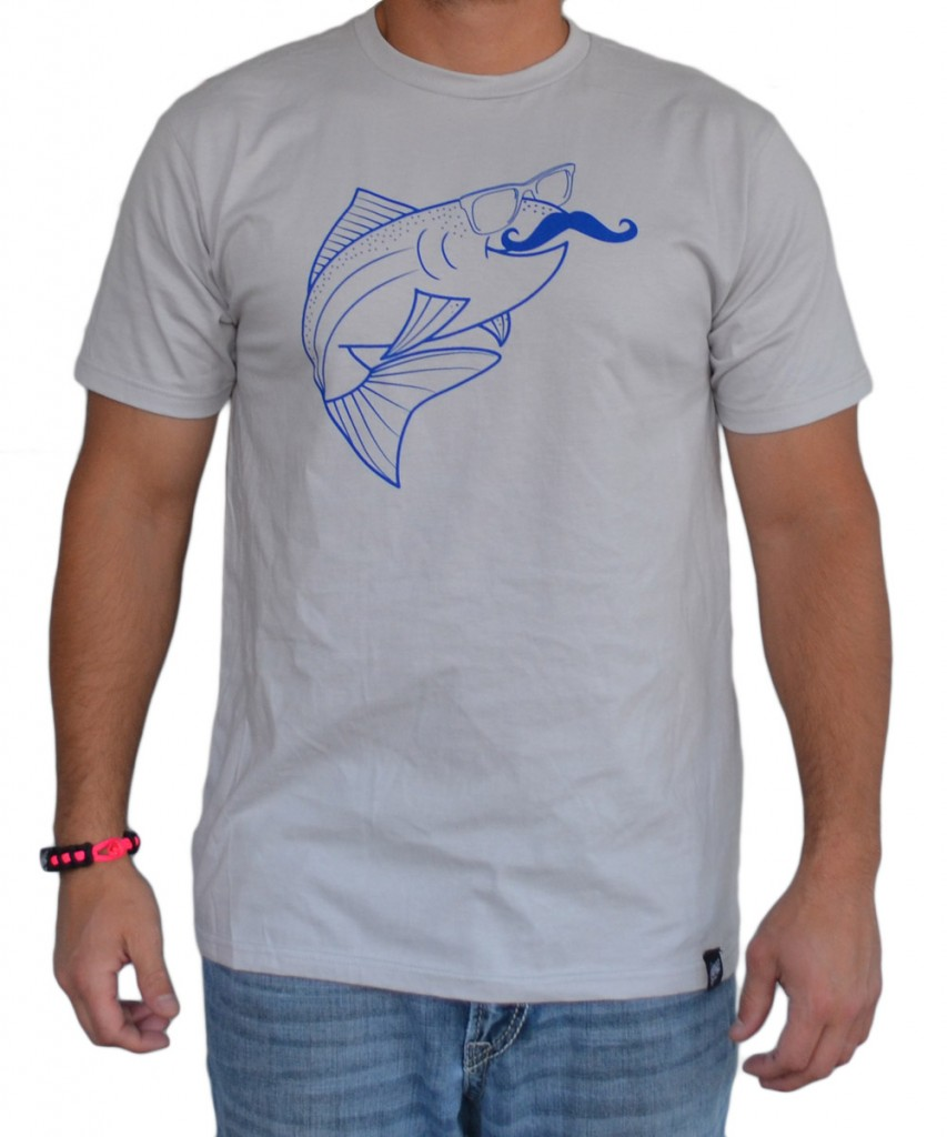 Troutstache 2 return of the wax t shirt the fly trout for Fly fishing shirt