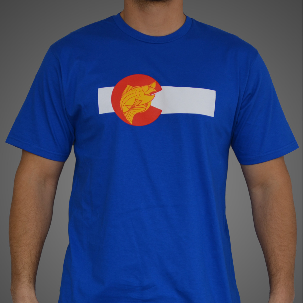 Colorado flag t shirt the fly trout fly fishing t shirts for Fly fishing shirt